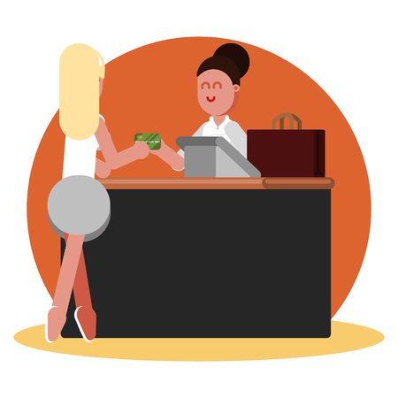 Woman buys clothing Illustration