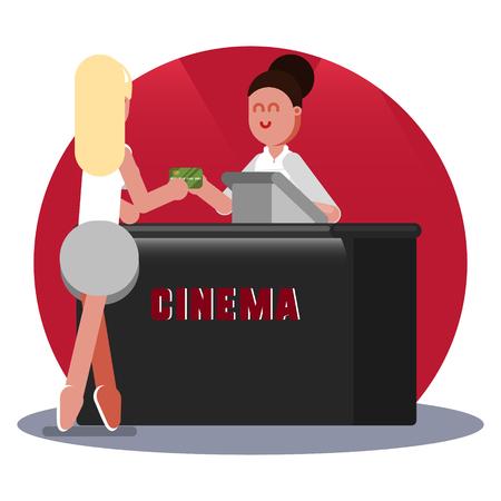 Woman buys ticket to cinema