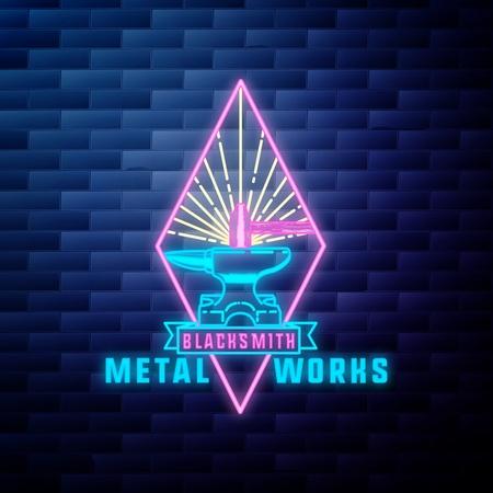 Blacksmith graphic vintage emblem Иллюстрация