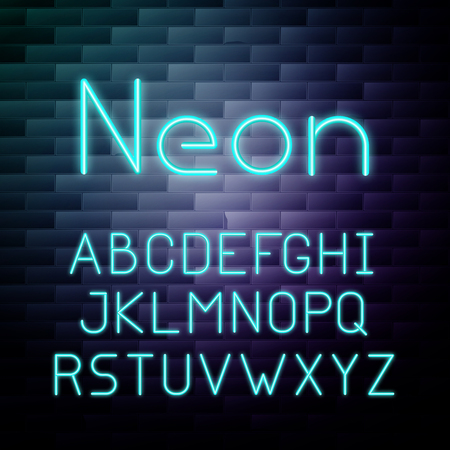 Glowing neon alphabet
