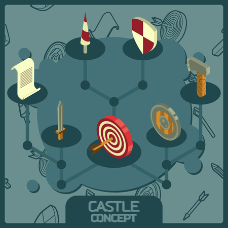 Castle color concept isometric icons Illustration