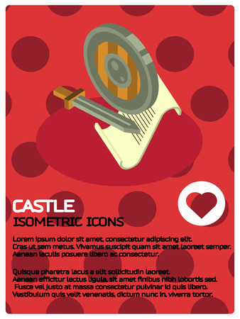 Castle color isometric poster