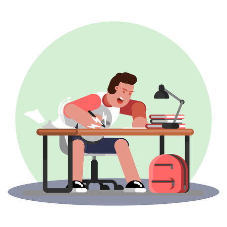 Man hard working and studing Stock Vector - 104064484