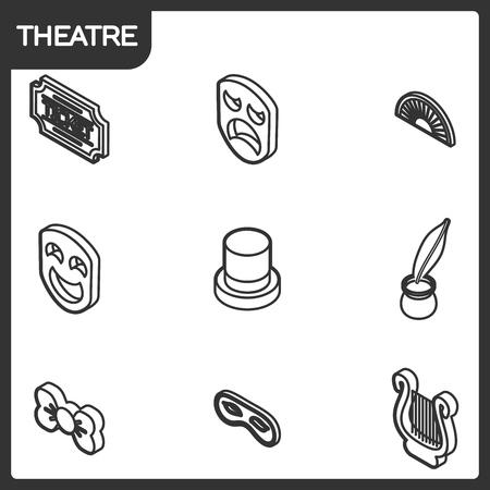 Theatre outline isometric icons