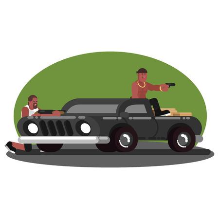 Two mans skirmish on car