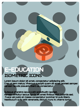 E-education color isometric poster