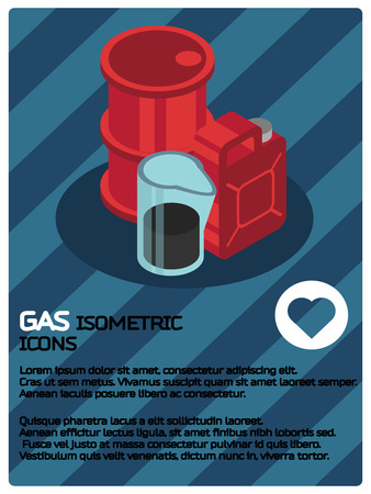 Gas color isometric poster