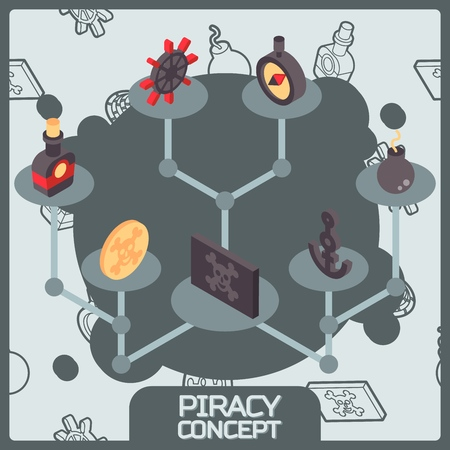 Piracy color concept isometric icons Illustration