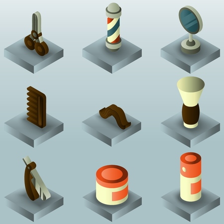 Barber shop color gradient isometric set.