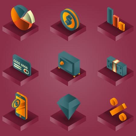 Finance color gradient isometric icons.