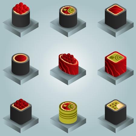 Icônes isomères de gradient de couleur de sushi.