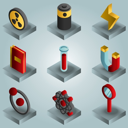 Physics color gradient isomeric icons. Vector illustration