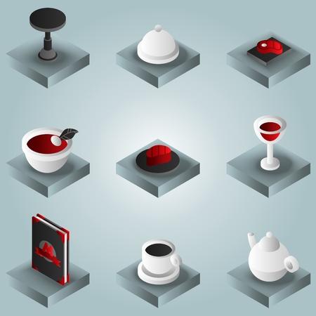 Restaurant color gradient isometric icons. Vector illustration Vecteurs