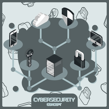 Cybersecurity color concept isometric icons. Vector illustration, EPS 10