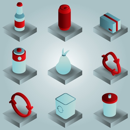 Garbage color gradient isometric icons. Vector illustration, EPS 10