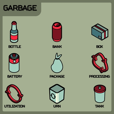 Garbage color outline isometric icons. Vector illustration, EPS 10