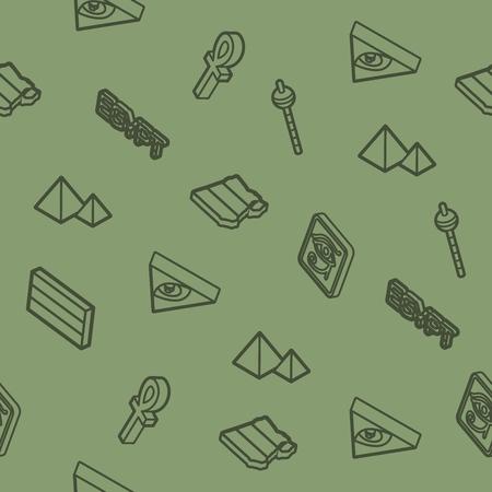 Egypt outline isometric pattern. Vector illustration, EPS 10