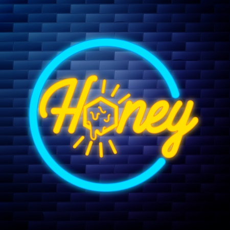 Vintage honey emblem glowing neon sign on brick wall background