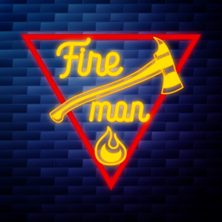 Vintage fireman emblem glowing neon sign on brick wall background Stock Photo
