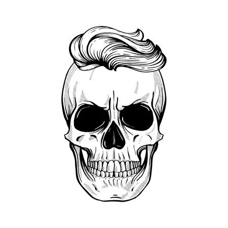 Crâne en colère avec coiffure, dessin au trait. Illustration vectorielle, Eps 10
