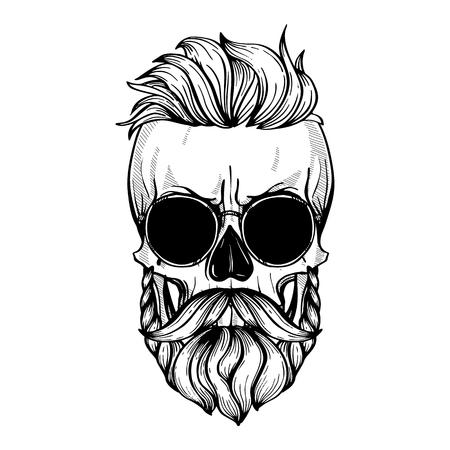 Boze schedel met kapsel, snorren, baard en zonnebril, zeer fijne tekeningen