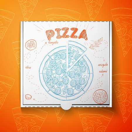 Cardboard box with pizza salami. Vector illustration, EPS 10