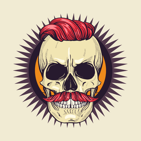 Color angry skull with moustaches and hairstyle, line art Vecteurs