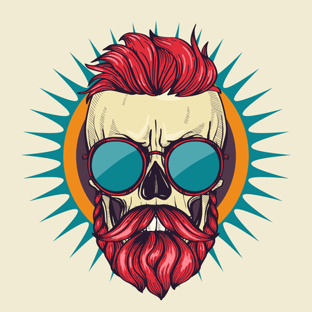 Color angry skull with hairstyle, moustaches, beard and sunglasses, line art