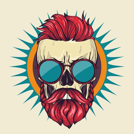 Crâne en colère de couleur avec coiffure, moustaches, barbe et lunettes de soleil, dessin au trait