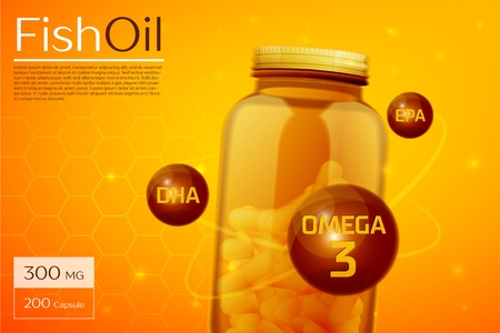 Fish oil template background  イラスト・ベクター素材