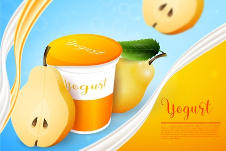 Pears yogurt ads template background