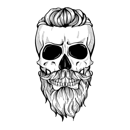 Skull with hairstyle tail, moustaches and beard, line art Archivio Fotografico - 105726949