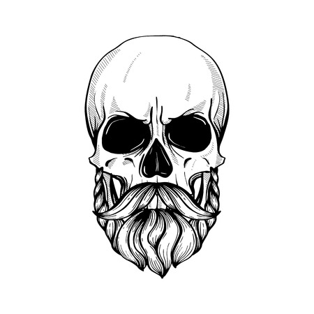 Skull with hairstyle tail and moustaches, line art Stock Illustratie
