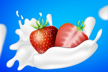 Strawberry and yogurt milk splashes. Yogurt ads. Place for your text. Illusztráció