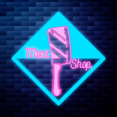 Vintage meat store emblem glowing neon sign  イラスト・ベクター素材