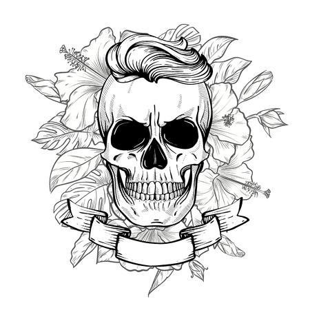 Teschio arrabbiato con acconciatura con fiori e nastro, line art. Illustrazione vettoriale, EPS 10 Vettoriali