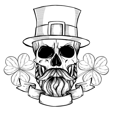 Line art, hand drawn angry skull of leprechaun with mustache, beard hat and clover leaves, St.Patricks Day Stock Photo