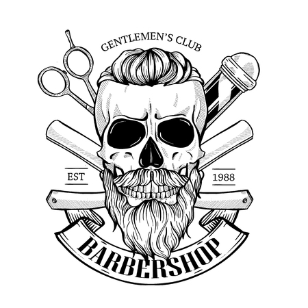 Barbershop logo, sticker with skull with a mustaches, beard and a hearcut, scissors, a dangerous razor and a ribbon