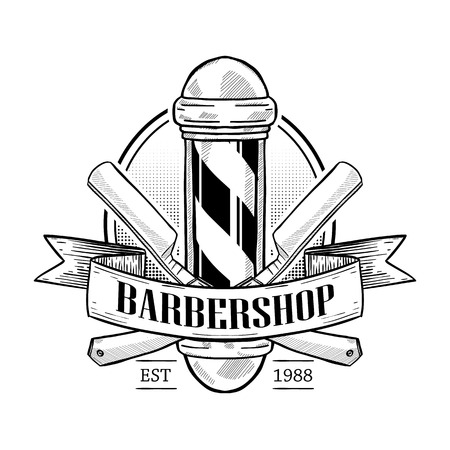 Barbershop logo with pole, a dangerous razor and a ribbon