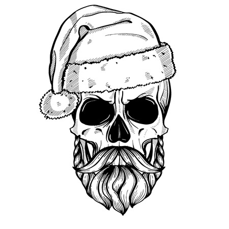 Line art, hand drawn angry skull of Santa Claus with mustache, beard and hat