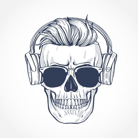 Cráneo con peinado, gafas de sol y auriculares, arte lineal