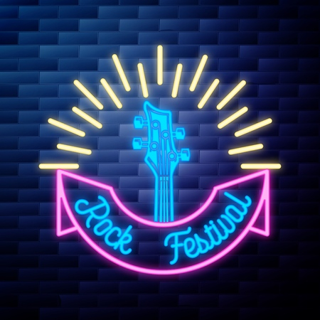 Vintage rock festival emblem glowing neon sign on brick wall background