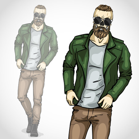 Vector man with skull and beard, moustaches Illustration