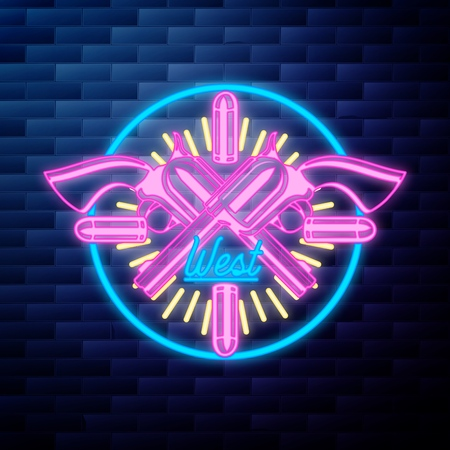 Vntage wild west emblem glowing neon sign