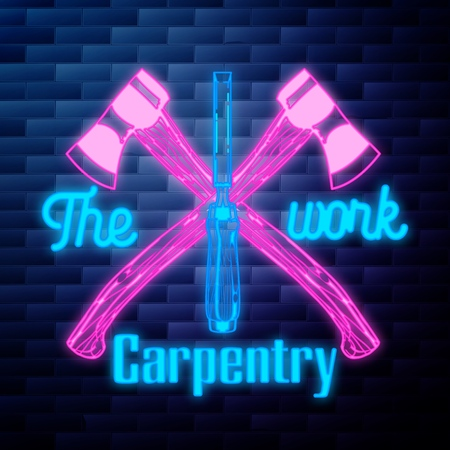 Vintage Carpenter emblem glowing neon sign on