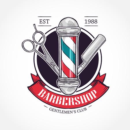 Farbiges Barbershop-Logo mit Schere, Stange, gefährlichem Rasiermesser und Band