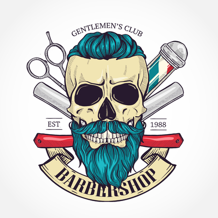Color barbershop logo, sticker with skull with a mustaches, beard and a hearcut, scissors, a dangerous razor and a ribbon