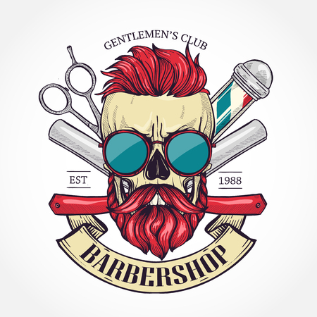 Color barbershop logo, sticker with skull with a mustaches, beard, hearcut and sunglasses, scissors, a dangerous razor and a ribbon