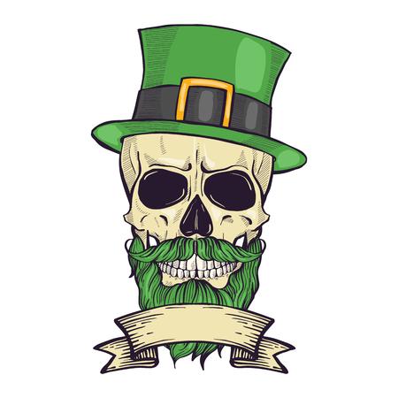 Cráneo dibujado a mano de color de duende con bigote, sombrero de barba y hojas de trébol y una cinta