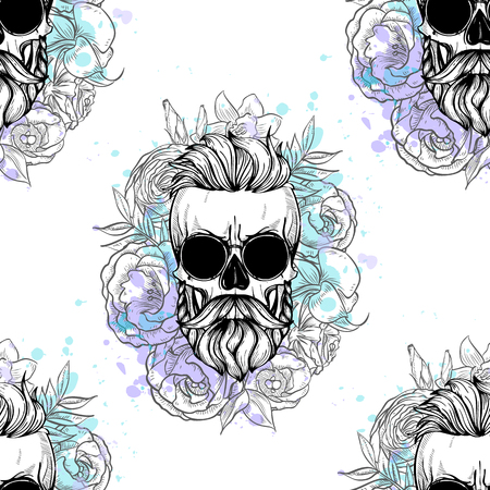 Seamless pattern with skull, beard, sunglasses, flowers and color splashes
